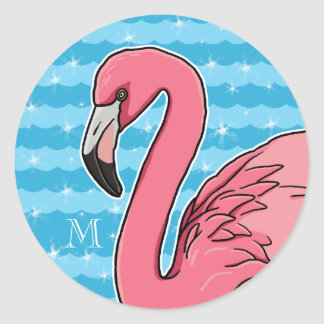 Pink Flamingo and Blue Waves, Add Monogram Classic Round Sticker