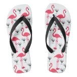 Pink Flamingo and Palm Tree Flip Flops