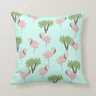 Pink Flamingo and Palm Trees Pattern Throw Pillow
