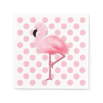 Pink Flamingo and Polka Dot Napkins