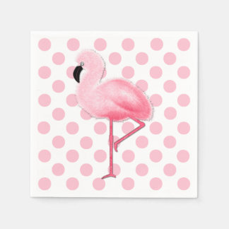 Pink Flamingo and Polka Dot Napkins