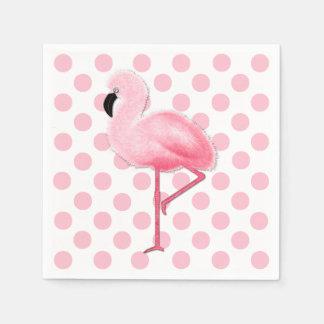 Pink Flamingo and Polka Dot Napkins Standard Cocktail Napkin