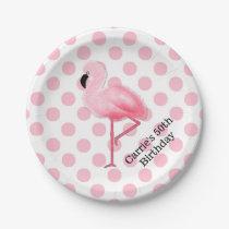 Pink Flamingo and Polka Dots Custom Paper Plates