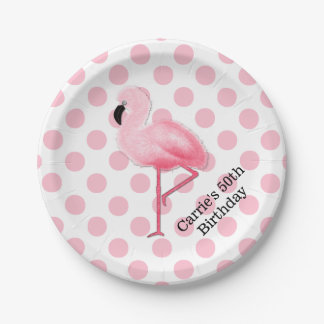 Pink Flamingo and Polka Dots Custom Paper Plates 7 Inch Paper Plate