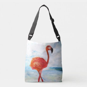 Beach Themed Pink Flamingo Art All-Over-Print Cross Body Bag