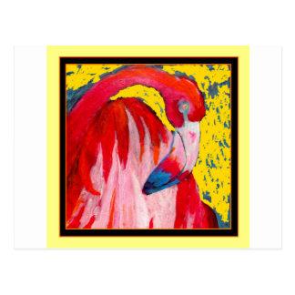 Pink Flamingo Art  Painting by Sharles Postcard