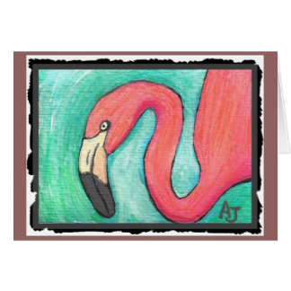 Pink Flamingo - artsy greeting card
