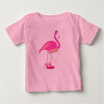 Pink Flamingo - Baby Fine Jersey T-Shirt Baby T-Shirt