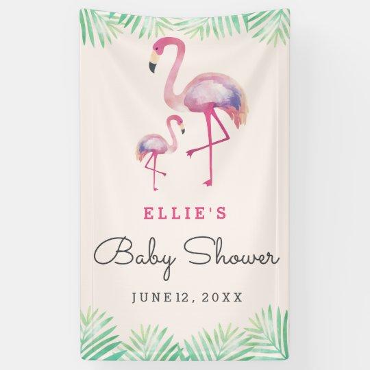 Pink Flamingo Baby Shower Banner