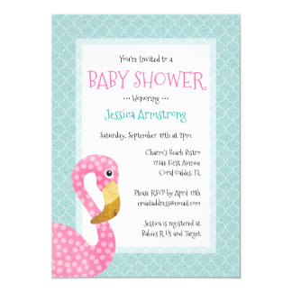 Pink Flamingo Baby Shower Card