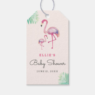 Pink Flamingo Baby Shower Gift Tags