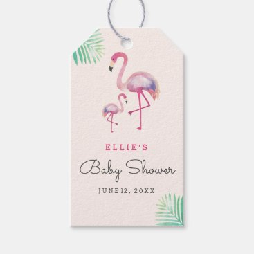 Toddler & Baby themed Pink Flamingo Baby Shower Gift Tags