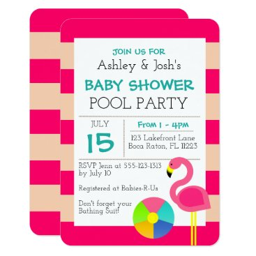 Beach Themed Pink Flamingo Baby Shower Invitation
