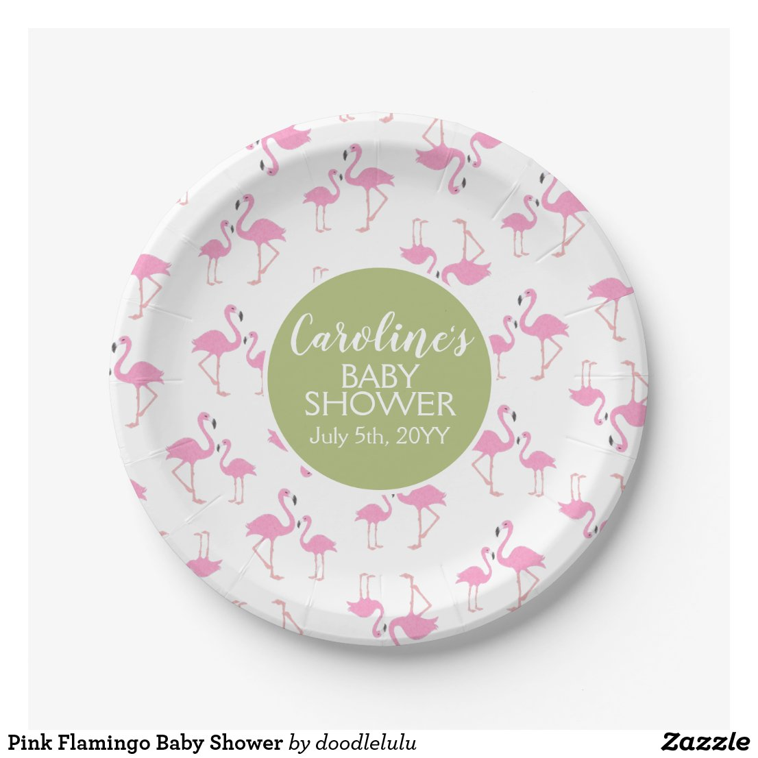 Pink Flamingo Baby Shower Paper Plate