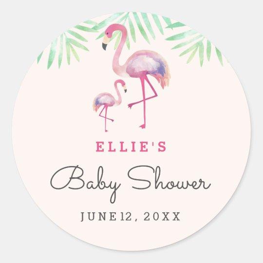 Pink Flamingo Baby Shower Sticker Zazzle