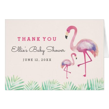 Toddler & Baby themed Pink Flamingo Baby Shower Thank You Card