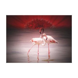 Pink Flamingo Ballet Canvas Print