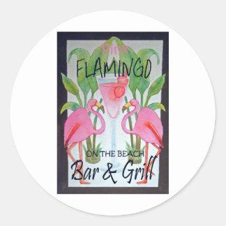 Pink Flamingo Bar & Grill Beach Drink Theme Classic Round Sticker