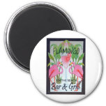 Pink Flamingo Bar & Grill Beach Drink Theme Magnets