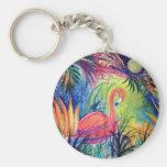 Pink Flamingo Basic Round Button Keychain