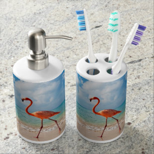 Pink Flamingo Bathroom Set