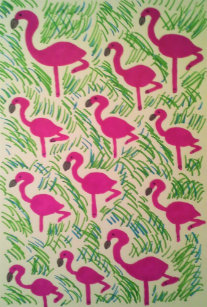 Pink Flamingo Bathroom Towel Set