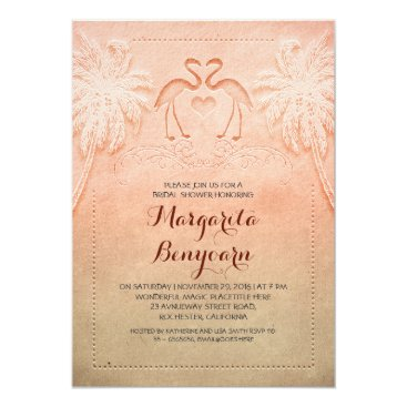 Beach Themed pink flamingo beach bridal shower invitations