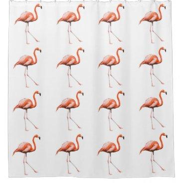 Pink Flamingo Beach house Bath decor Shower Curtain