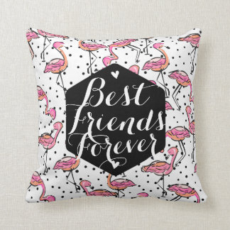 Pink Flamingo Best Friends Forever Custom Throw Pillow