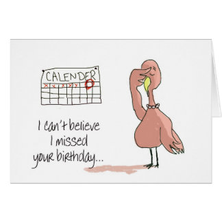 Pink Flamingo Bird Belated Happy Birthday Stationery Note Card