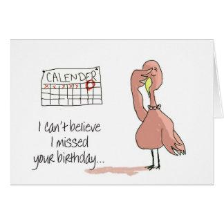 Pink Flamingo Bird Belated Happy Birthday Stationery Note Card