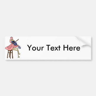 Pink Flamingo Bird Playing Violin Bumper Sticker