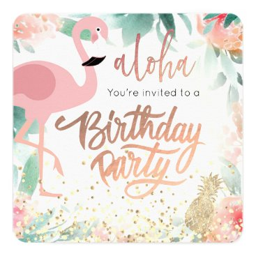 Beach Themed pink flamingo bird tropical birthday party card