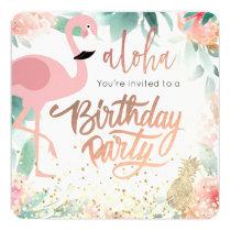 pink flamingo bird tropical birthday party invitation