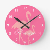 Pink flamingo bird wall clock with custom text
