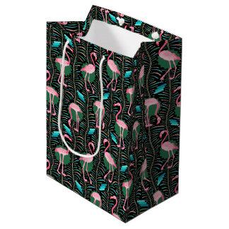 Pink Flamingo Birds 20s Deco Pattern Ferns Black Medium Gift Bag