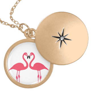 Pink flamingo-birds-love-heart gold plated necklace
