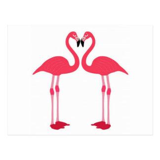 Pink flamingo-birds-love-heart post card