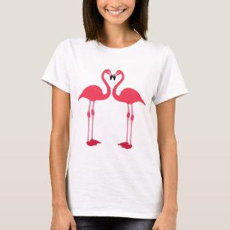 Pink flamingo-birds-love-heart T-Shirt