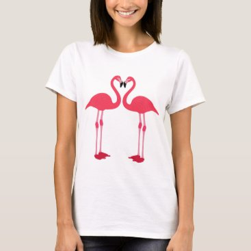 Valentines Themed Pink flamingo-birds-love-heart T-Shirt