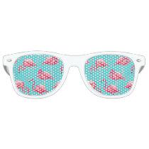 Pink flamingo birds on turquoise background retro sunglasses