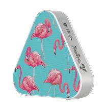 Pink flamingo birds on turquoise background speaker