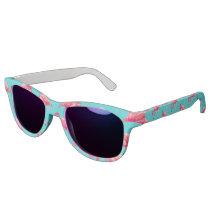 Pink flamingo birds on turquoise background sunglasses