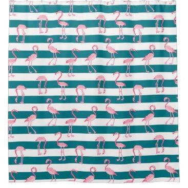 Beach Themed Pink Flamingo Birds Turquoise White Stripe Pattern Shower Curtain