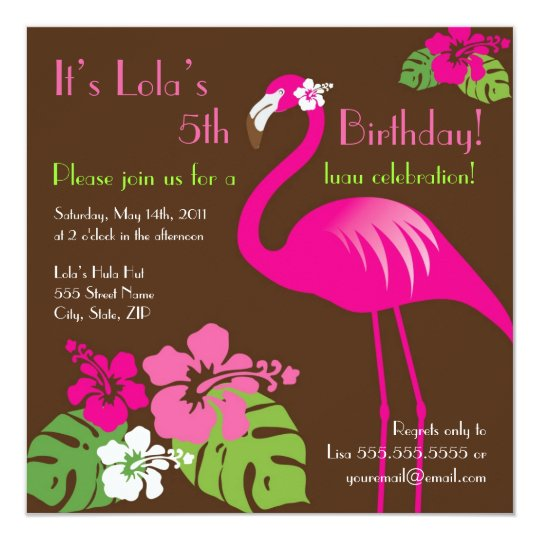 Pink Flamingo Birthday Invitation