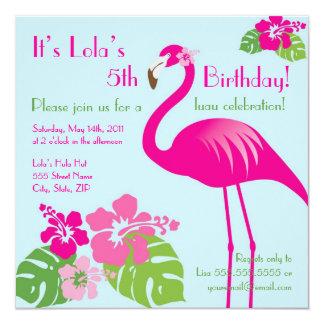 "Pink Flamingo Birthday Invitation 5.25"" Square Invitation Card"