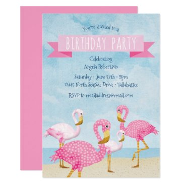 Beach Themed Pink Flamingo Birthday Party Card