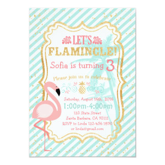 Pink Flamingo Birthday Party Invitation