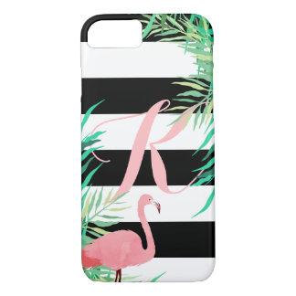 Pink Flamingo & Black Stripes Monogrammed iPhone 8/7 Case