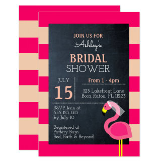 Pink Flamingo Bridal Shower Invitation